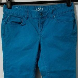 Ann Taylor LOFT turquoise crop jeans, size 25/0